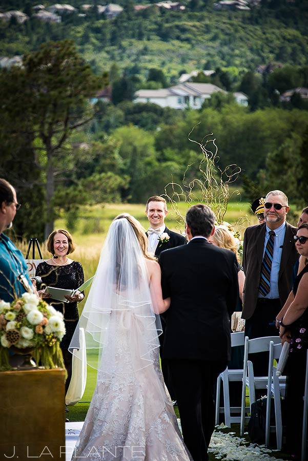J. LaPlante Photo | Colorado Springs Wedding Photographers | Cheyenne Mountain Resort Wedding | Bride Walking Down Aisle