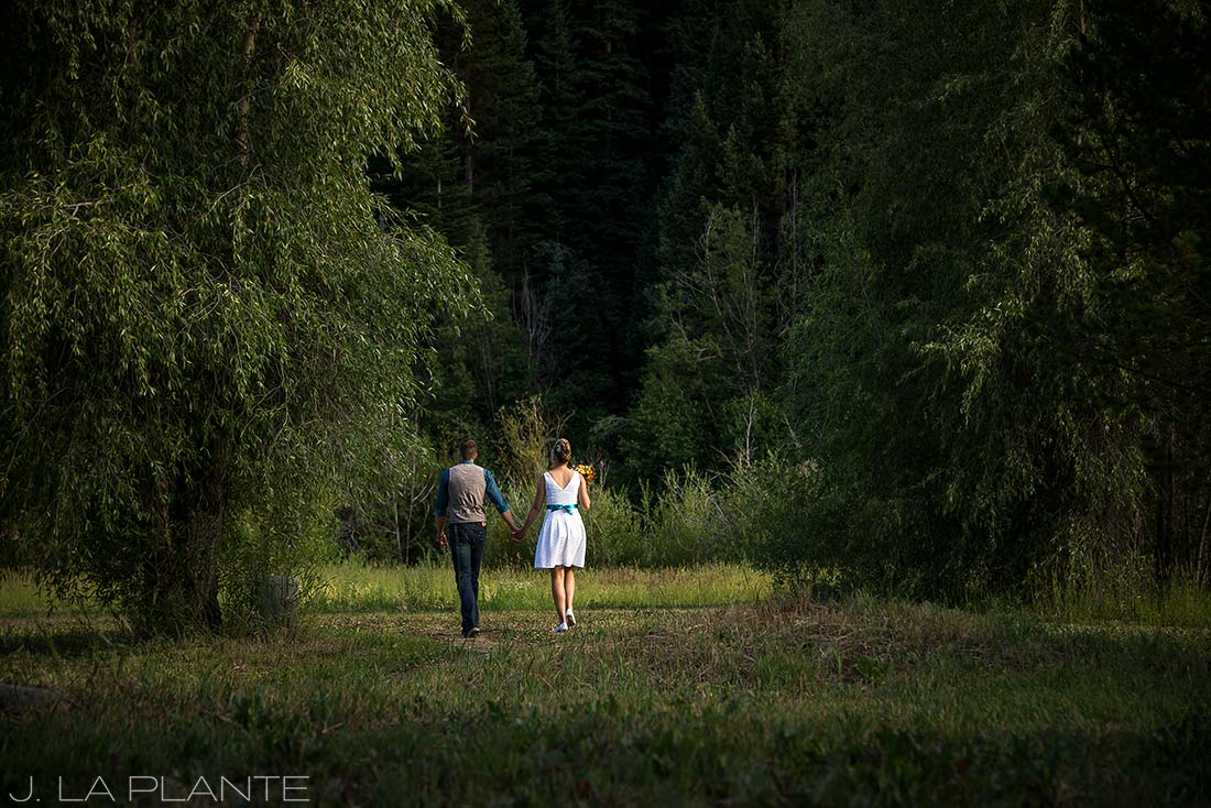 J. La Plante Photo | Rocky Mountain Wedding Photographer | Shadow Mountain Ranch Wedding | Bride and Groom Leaving Ceremony