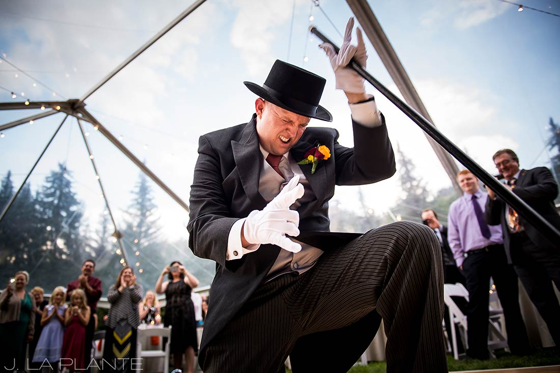 J. La Plante Photo | Vail Wedding Photographers | Lion Square Lodge Wedding | Groom Rocking Out