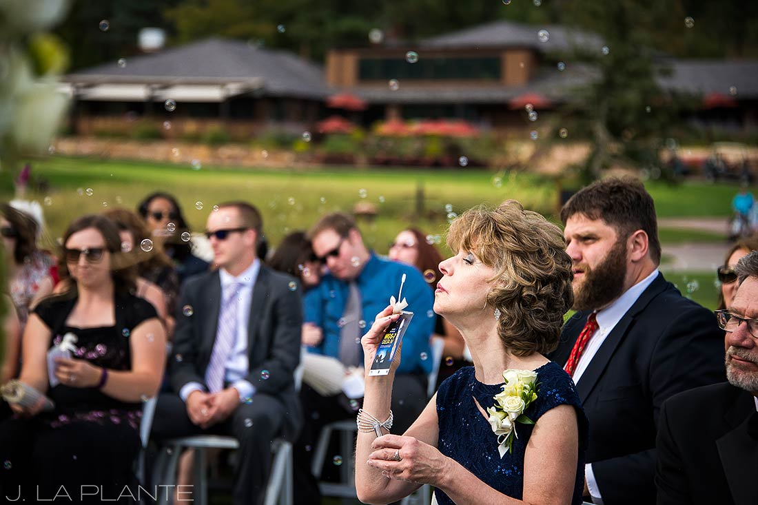 J. LaPlante Photo | Colorado Springs Wedding Photographers | Cheyenne Mountain Resort Wedding | Mother of the Bride Bubble Send Off