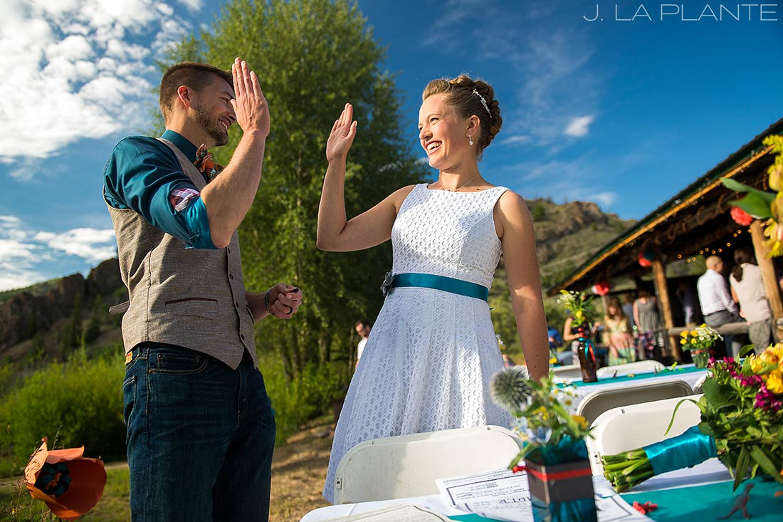 J. La Plante Photo | Rocky Mountain Wedding Photographer | Granby Colorado Wedding | Bride and Groom High Five