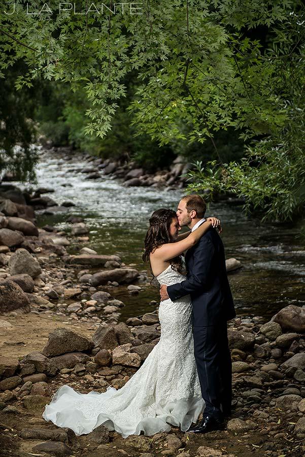 J. La Plante Photo | Boulder Wedding Photographers | Wedgewood on Boulder Creek Wedding | Bride and Groom by Boulder Creek