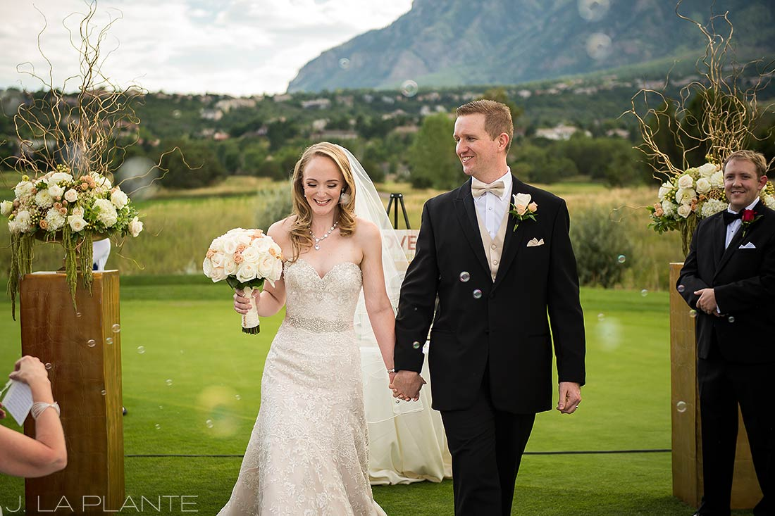 J. LaPlante Photo | Colorado Springs Wedding Photographers | Cheyenne Mountain Resort Wedding | Bride and Groom Bubble Send Off