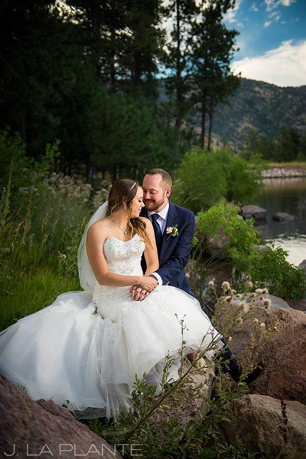 J. LaPlante Photo | Boulder Wedding Photographer | Mon Cheri Wedding | Bride and Groom by Mountain Lake