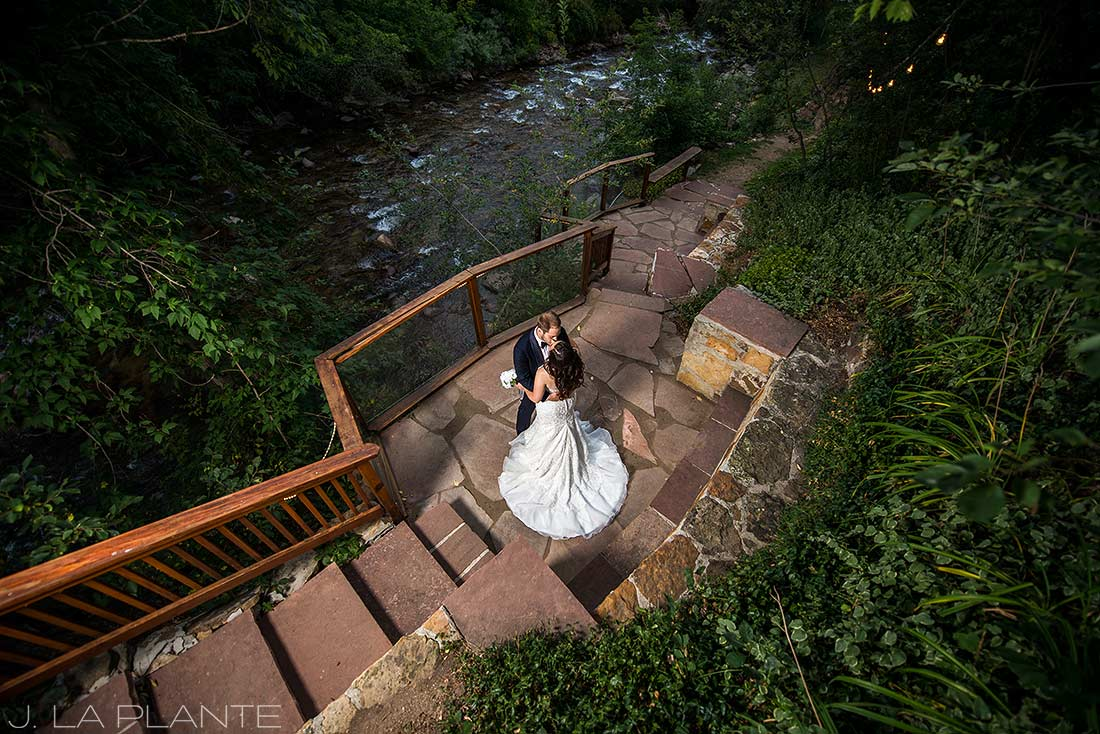 J. La Plante Photo | Boulder Wedding Photographers | Wedgewood on Boulder Creek Wedding | Bride and Groom by River