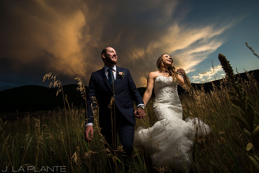 J. LaPlante Photo | Boulder Wedding Photographer | Mon Cheri Wedding | Bride and Groom with Sunset