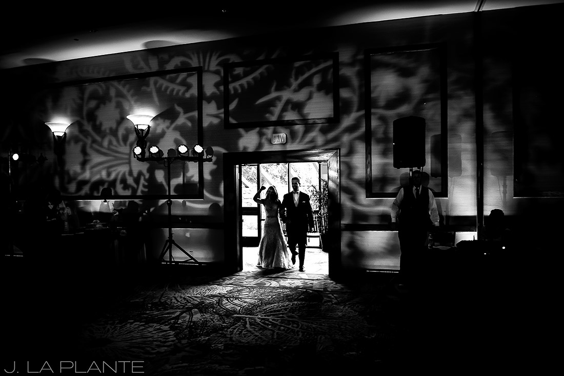 J. LaPlante Photo | Colorado Springs Wedding Photographers | Cheyenne Mountain Resort Wedding | Bride and Groom Entering Reception