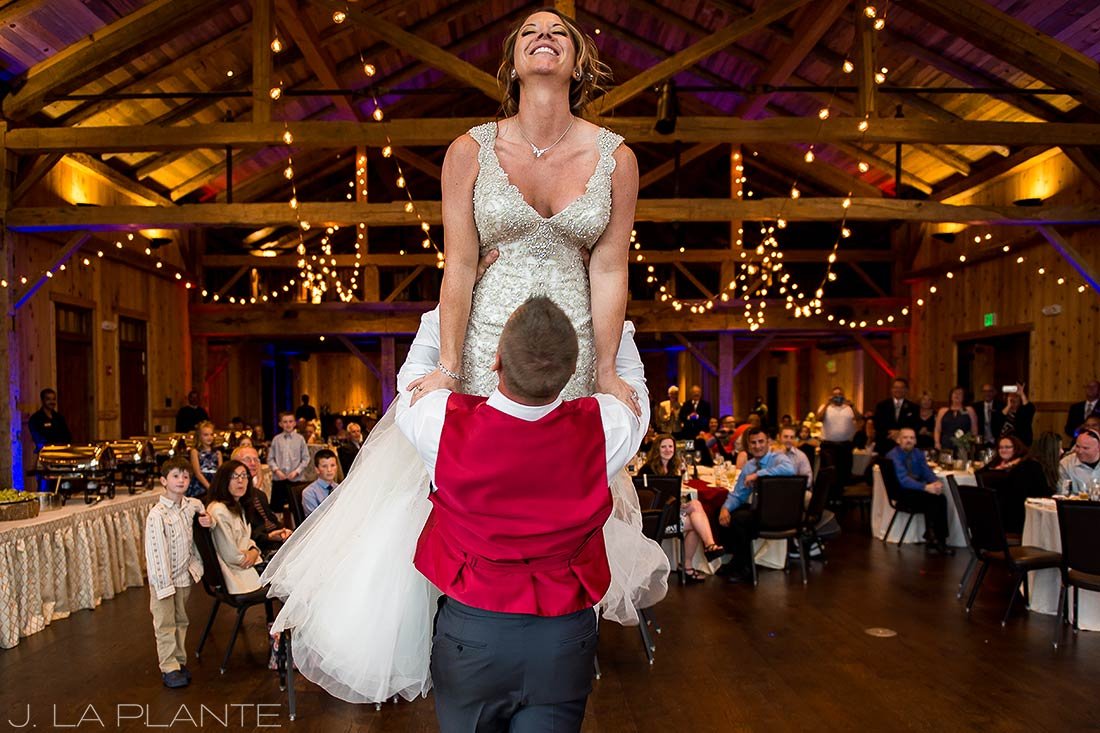 J. La Plante Photo | Winter Park Colorado Wedding Photographer | Devil's Thumb Ranch Wedding | First Dance Dirty Dancing Lift