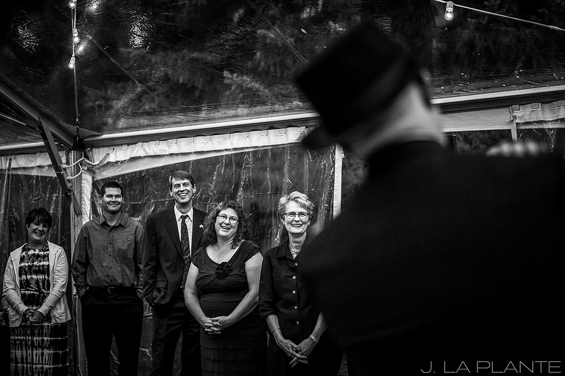 J. La Plante Photo | Vail Wedding Photographers | Lion Square Lodge Wedding | Guests Watching First Dance