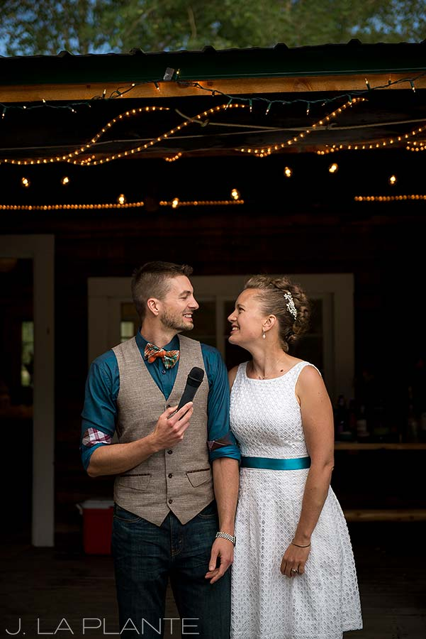 J. La Plante Photo | Colorado Wedding Photographer | Granby Colorado Wedding | Groom Giving Speech
