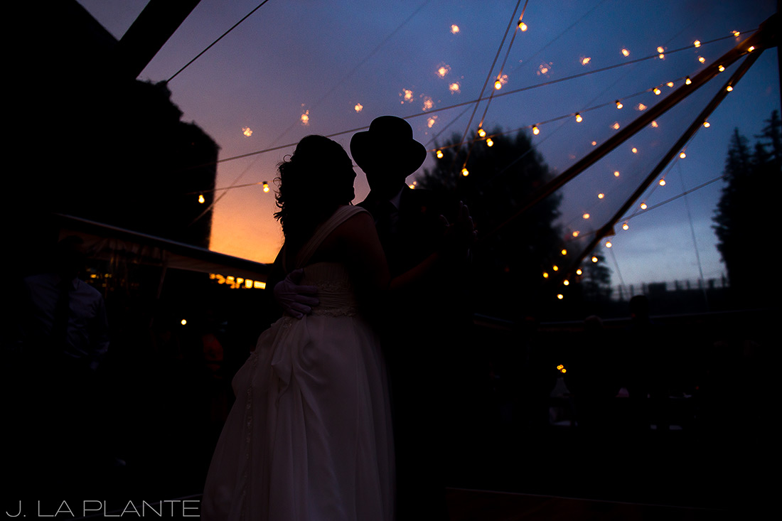 J. La Plante Photo | Vail Wedding Photographers | Lion Square Lodge Wedding | First Dance at Sunset