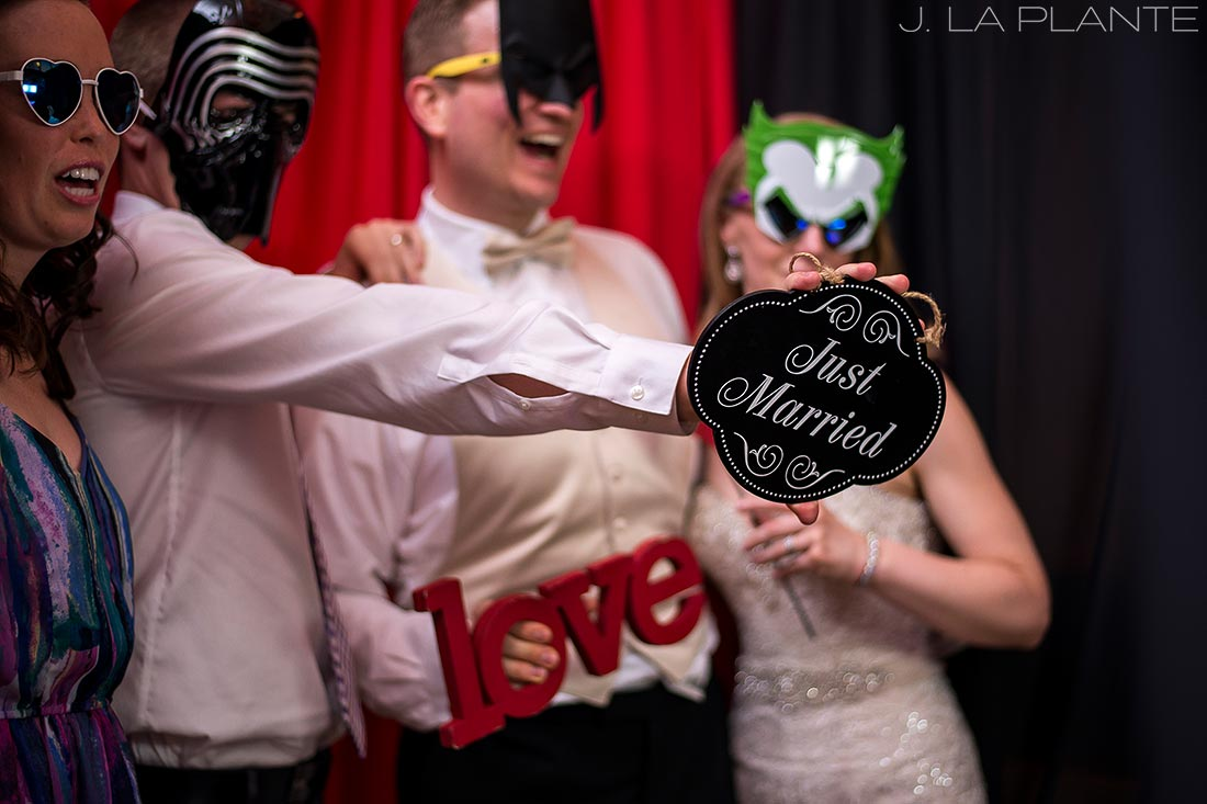 J. LaPlante Photo | Colorado Springs Wedding Photographers | Cheyenne Mountain Resort Wedding | Bride and Groom in Photo Booth
