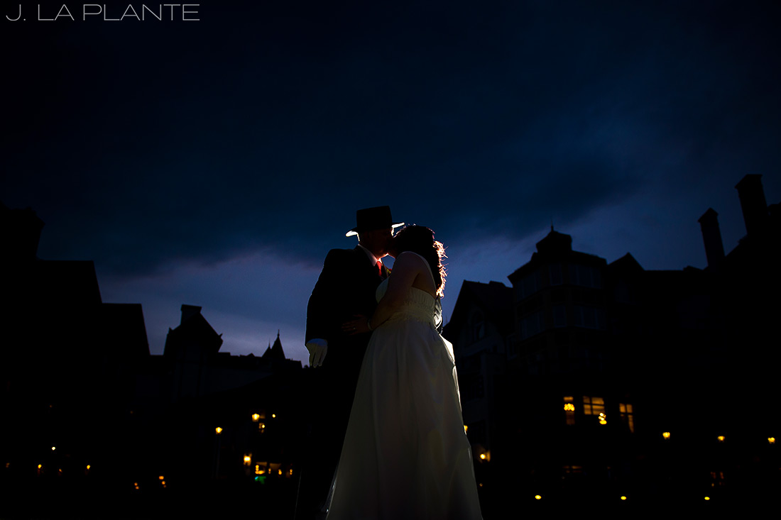 J. La Plante Photo | Vail Wedding Photographers | Vail Resort Lionshead Wedding | Bride and Groom Sunset Photo