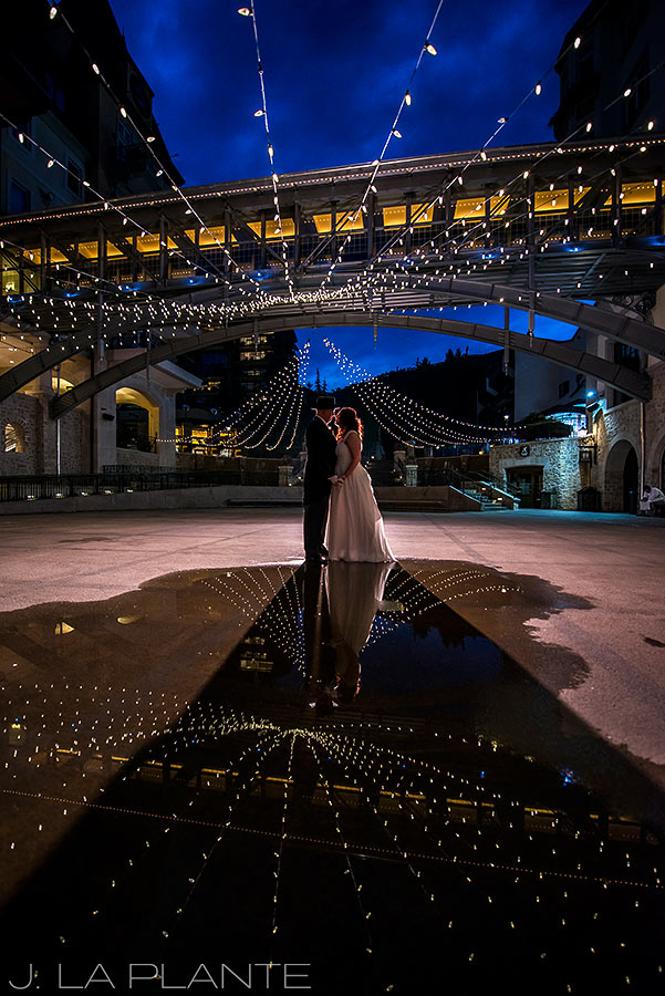 J. La Plante Photo | Vail Wedding Photographers | Vail Resort Lionshead Wedding | Bride and Groom Under the Lights