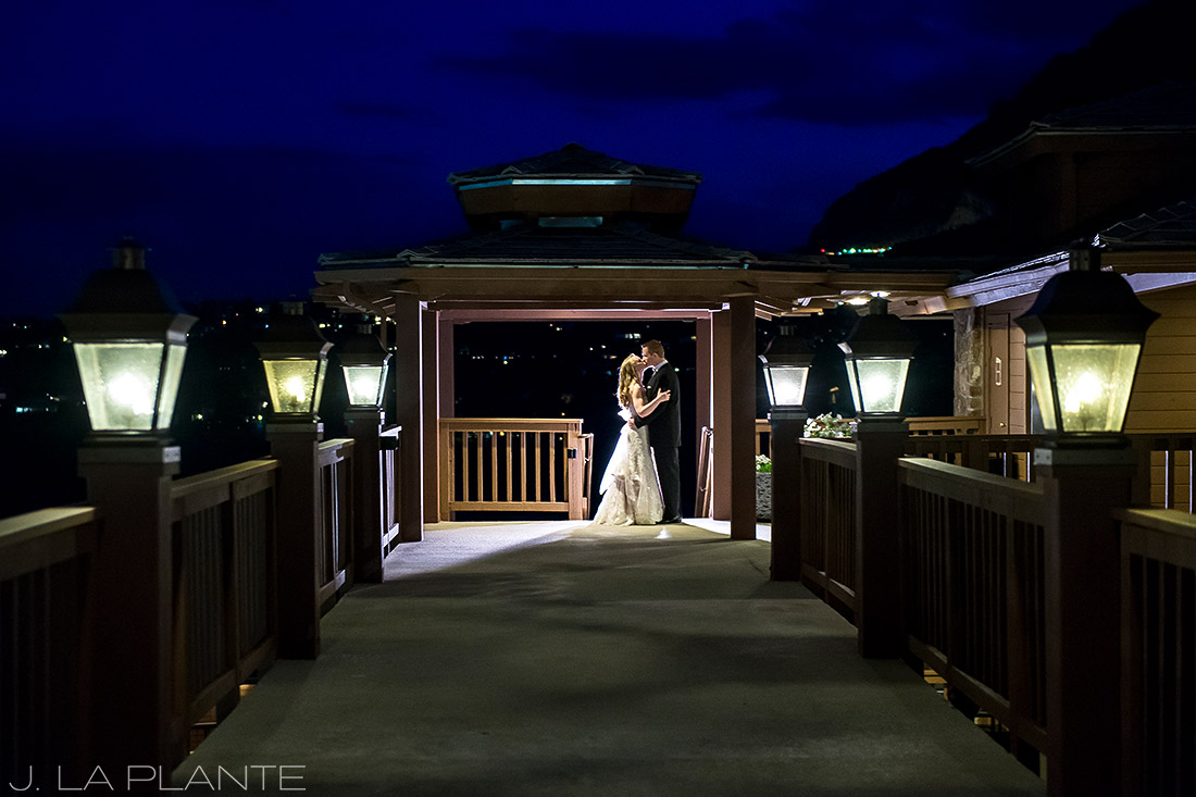 J. LaPlante Photo | Colorado Springs Wedding Photographers | Cheyenne Mountain Resort Wedding | Nighttime Portrait of Bride and Groom