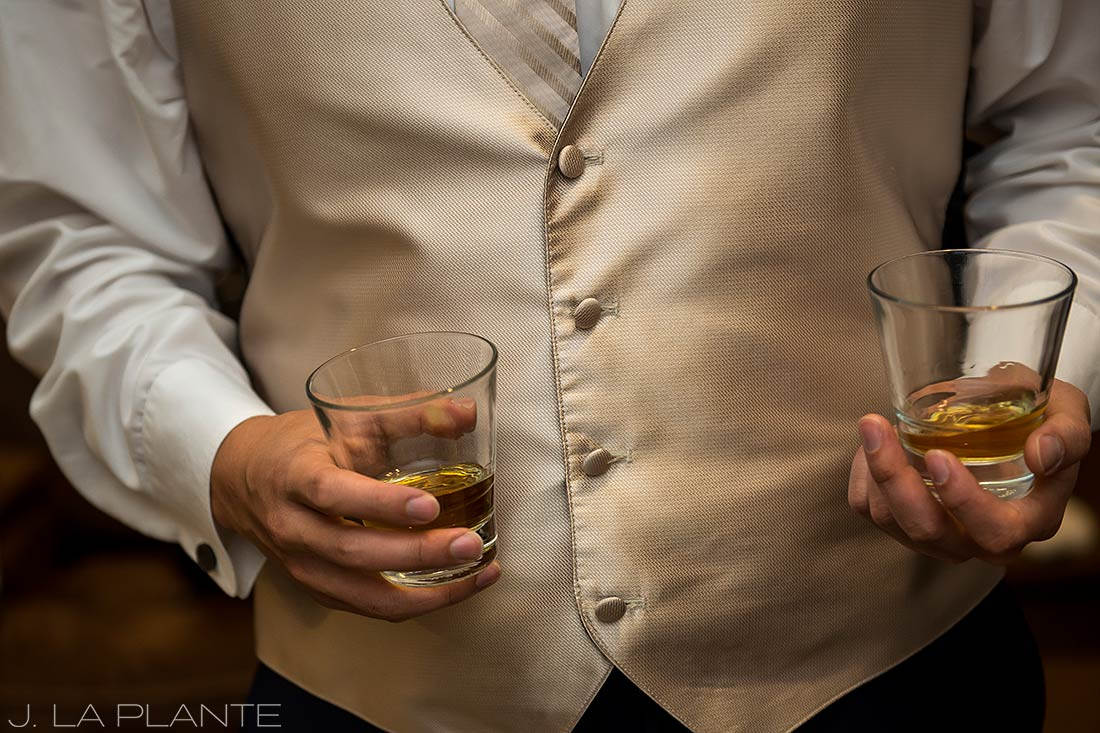 Groomsmen with whiskey | Fall wedding at Della Terra | Estes Park wedding photographers | J. La Plante Photo