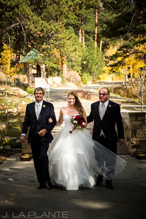 Father walking bride down aisle | Fall wedding at Della Terra | Estes Park wedding photographers | J. La Plante Photo