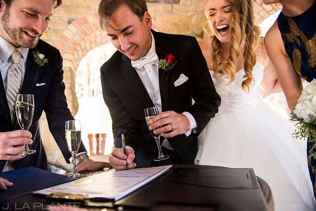 Signing marriage license | Fall wedding at Della Terra | Estes Park wedding photographers | J. La Plante Photo