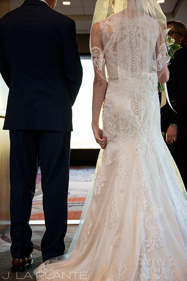J. La Plante Photo | Denver Wedding Photographer | Grand Hyatt Wedding | Bride and father waiting to walk down aisle