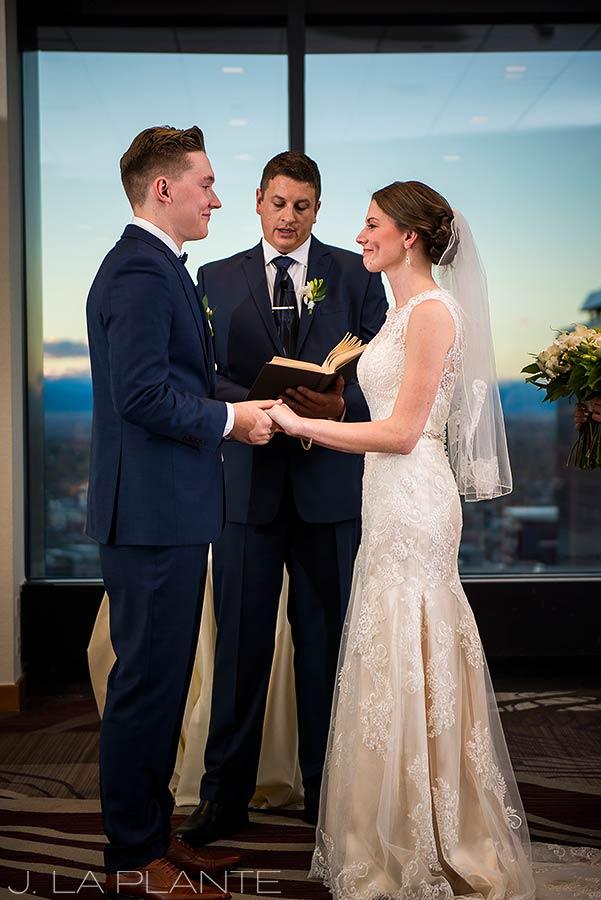 J. La Plante Photo | Denver Wedding Photographer | Grand Hyatt Wedding | Bride and groom saying vows