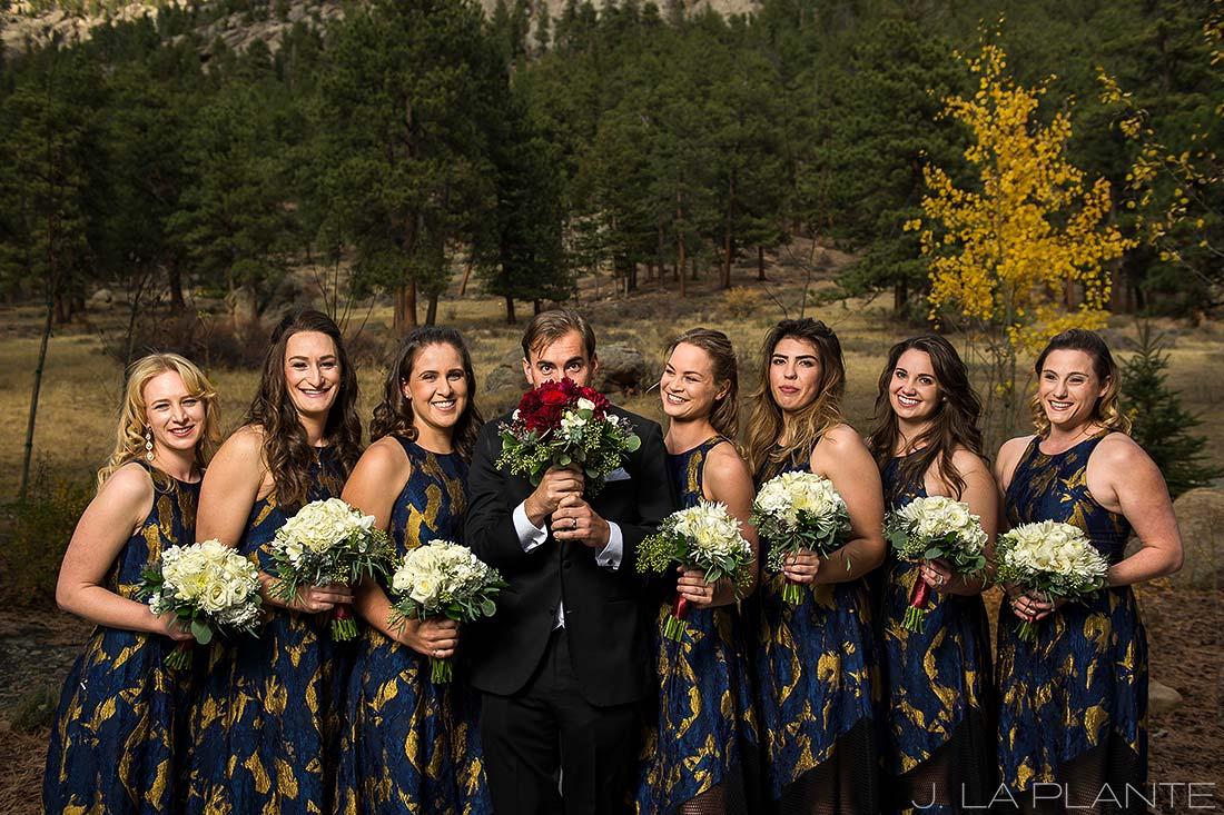 Groom with bridesmaids | Fall wedding at Della Terra | Estes Park wedding photographers | J. La Plante Photo