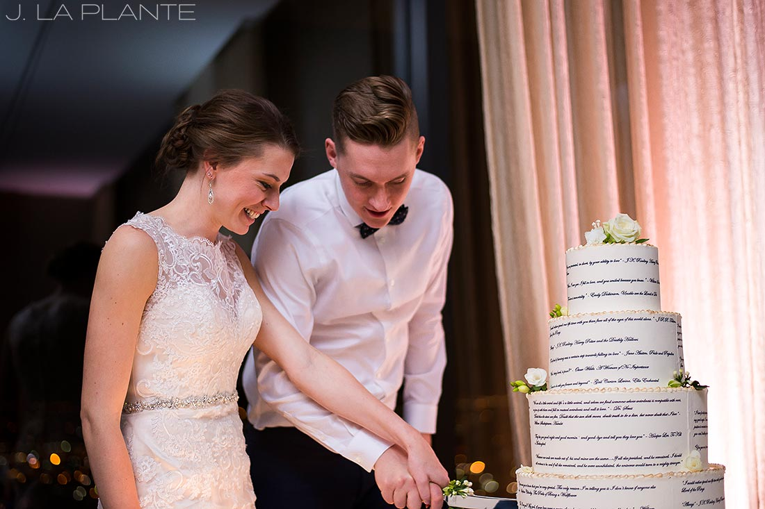 J. La Plante Photo | Denver Wedding Photographer | Grand Hyatt Wedding | Book wedding cake