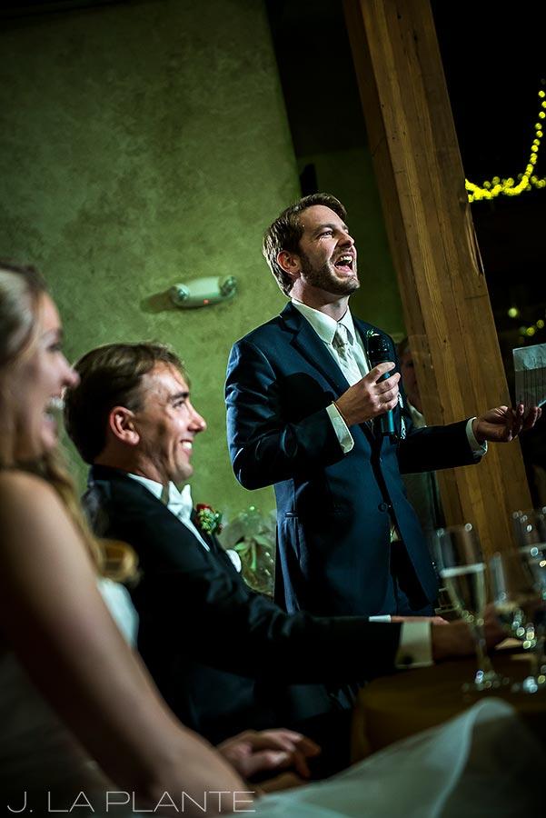 Best man toast | Fall wedding at Della Terra | Estes Park wedding photographers | J. La Plante Photo