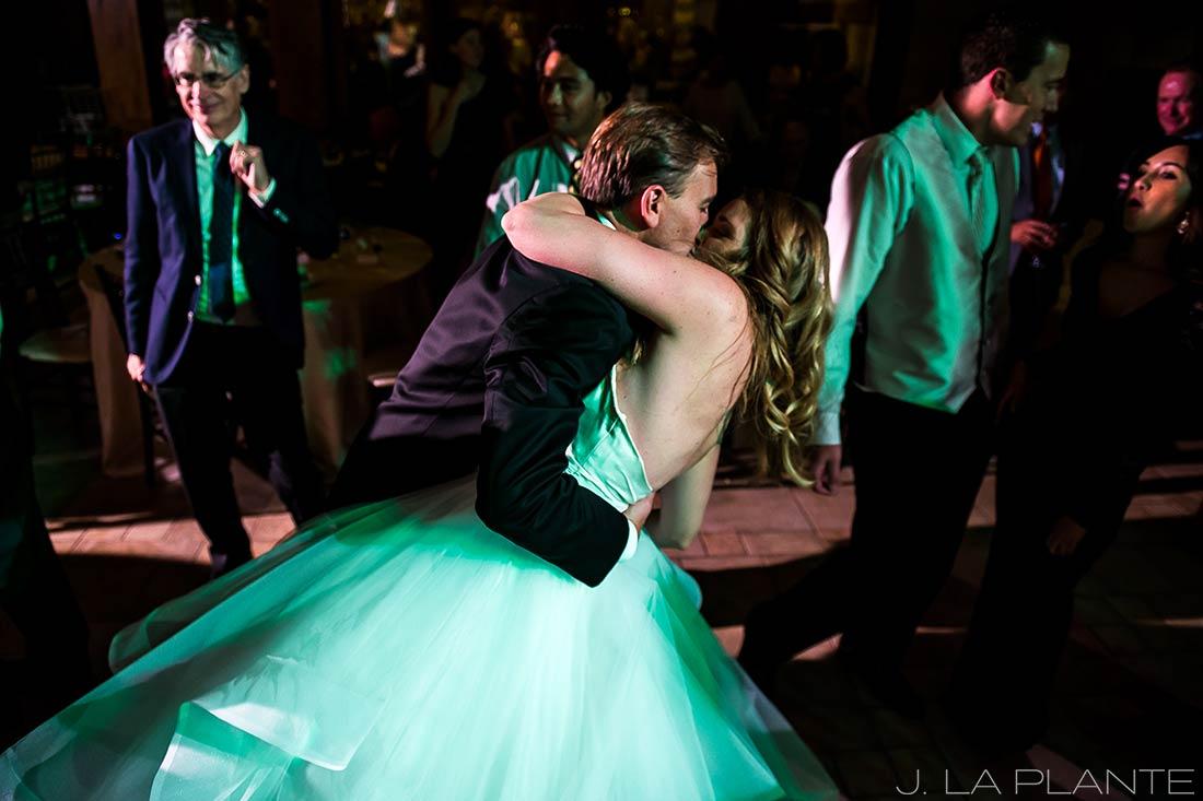 Groom dipping bride | Fall wedding at Della Terra | Estes Park wedding photographers | J. La Plante Photo