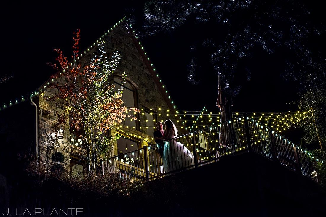 Quiet moment for bride and groom | Fall wedding at Della Terra | Estes Park wedding photographers | J. La Plante Photo