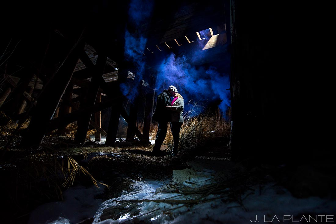 J. La Plante Photo | Boulder Wedding Photographers | Coal Creek Trail Engagement | Engagement Shoot with Smoke Bombs