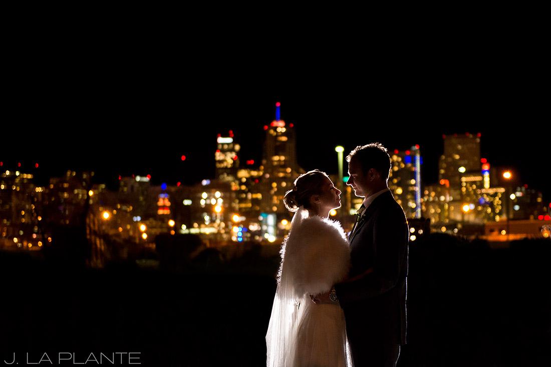 J. La Plante Photo | Denver Wedding Photographers | Mile High Station Wedding | Bride and Groom with Denver Skyline