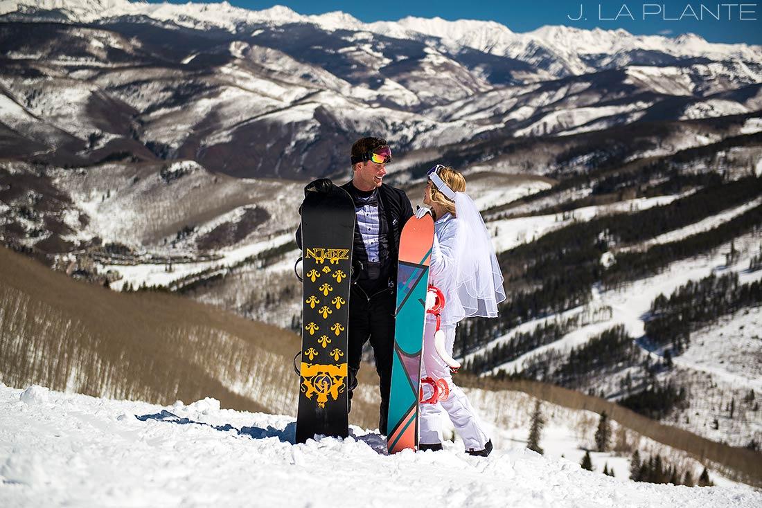 J. La Plante Photo | Beaver Creek Wedding Photographers | Beaver Creek Lodge Wedding | Bride and Groom Snowboarding