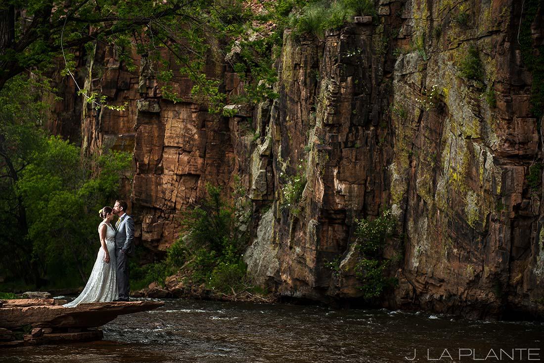 J. La Plante Photo | Boulder Wedding Photographers | Planet Bluegrass Wedding | Bride and Groom by River