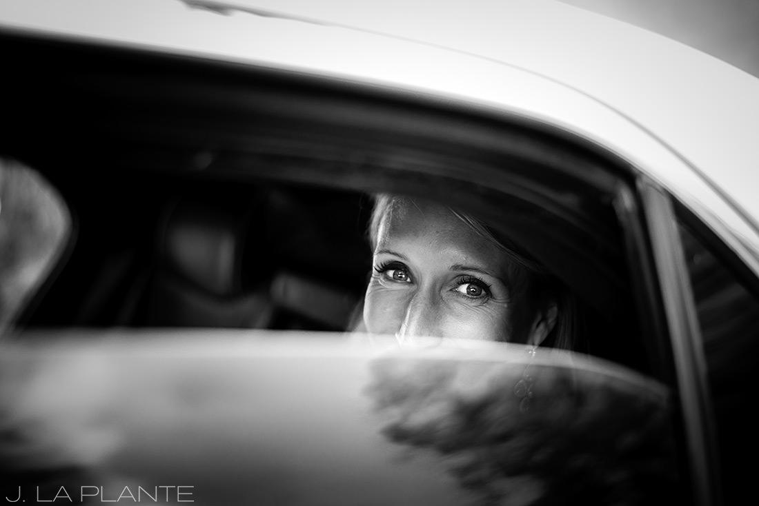 J. La Plante Photo | Denver Wedding Photographers | Chatfield Botanic Gardens Wedding | Bride in Limo