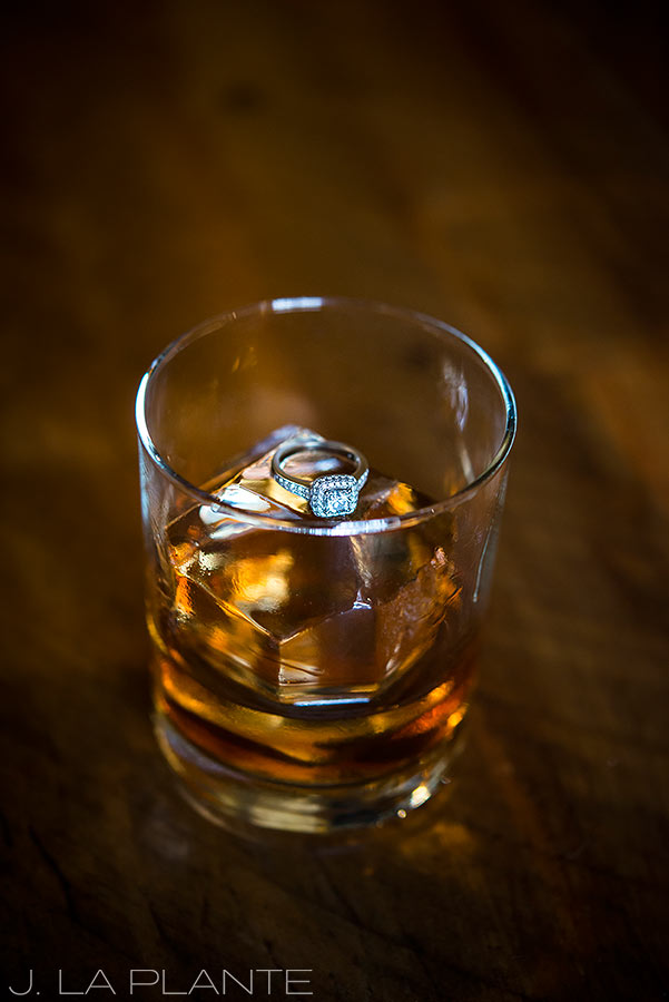 J. La Plante Photo | Golden Colorado Wedding Photographers | Golden Moon Speak Engagement | Engagement Ring in Whiskey