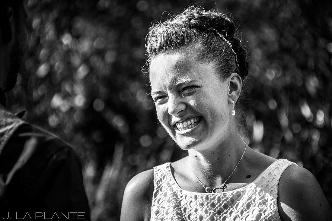 J. La Plante Photo | Colorado Wedding Photographers | Shadow Mountain Ranch Wedding | Bride Crying During Ceremony