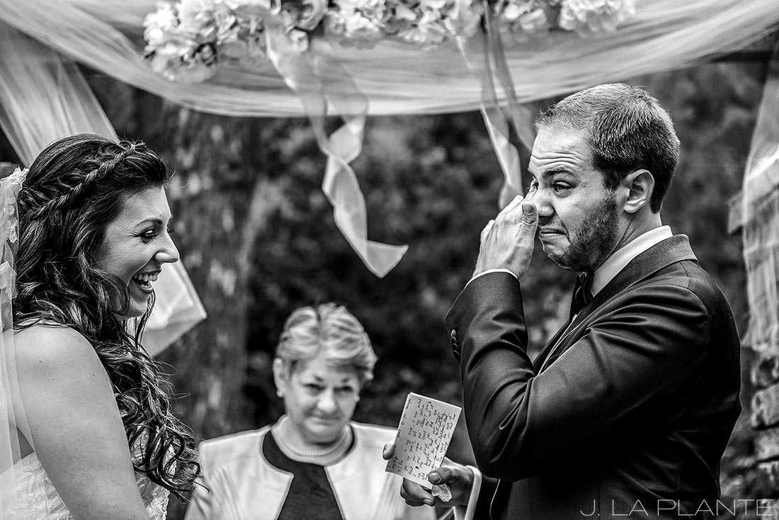 J. LaPlante Photo | Boulder Wedding Photographers | Wedgewood on Boulder Creek Wedding | Groom Crying During Vows