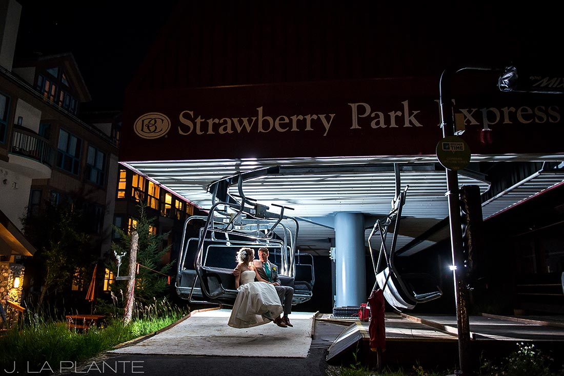 J. LaPlante Photo | Beaver Creek Wedding Photographers | Beaver Creek Wedding | Bride and Groom on Chairlift