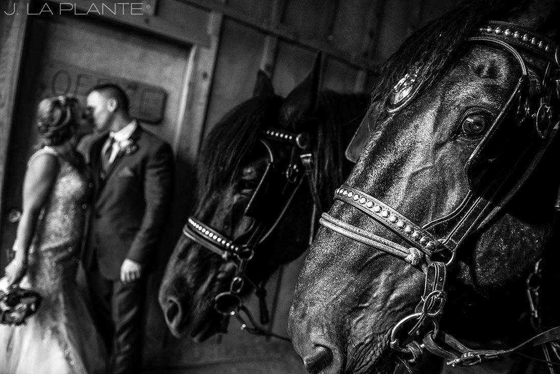 J. LaPlante Photo | Colorado Wedding Photographers | Devil's Thumb Ranch Wedding | Bride and Groom with Horses