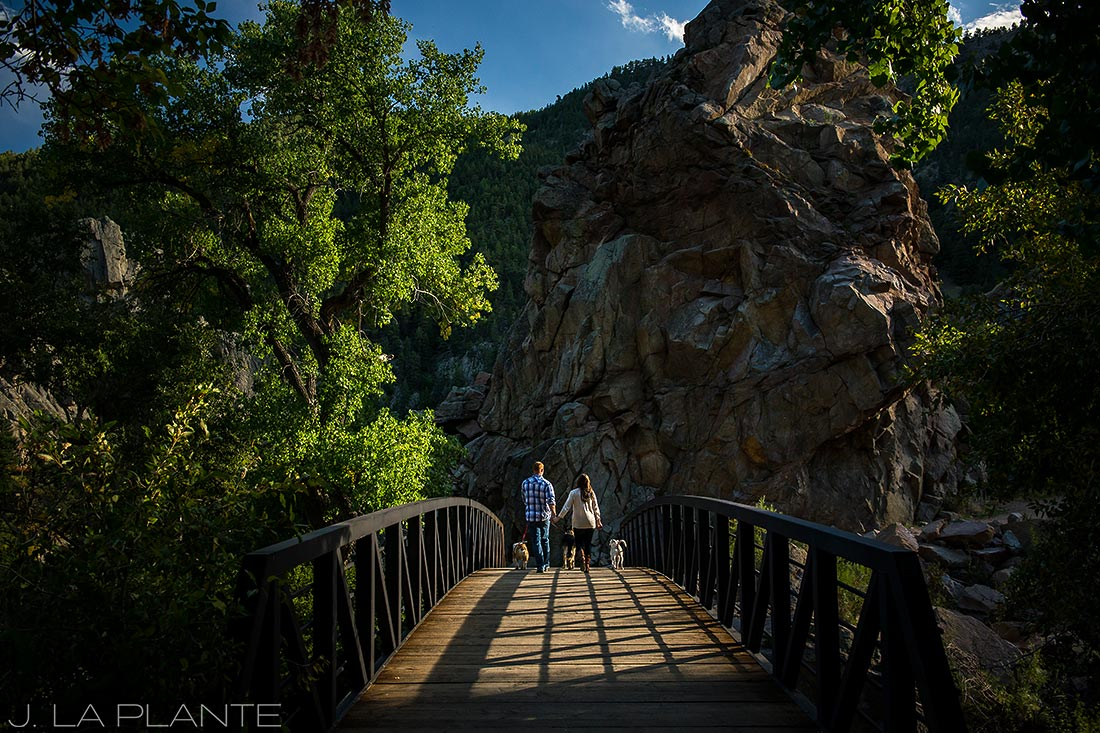 J. LaPlante Photo | Boulder Wedding Photographers | Boulder Canyon Trail Engagement | Engagement Shoot with Dogs