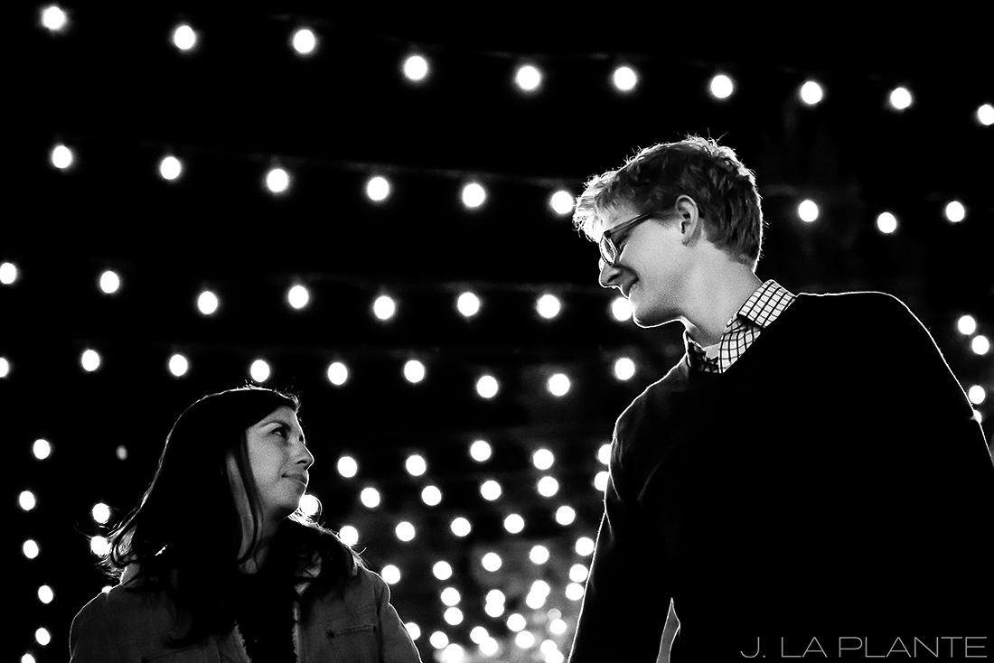 J. LaPlante Photo | Colorado Wedding Photographers | Downtown Castle Rock Engagement | String Lights Engagement Shoot