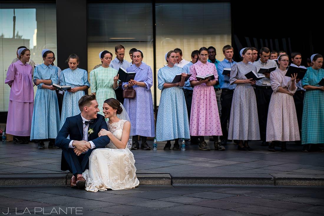 J. LaPlante Photo | Denver Wedding Photographers | Grand Hyatt Denver Wedding | Bride and Groom on 16th Street Mall