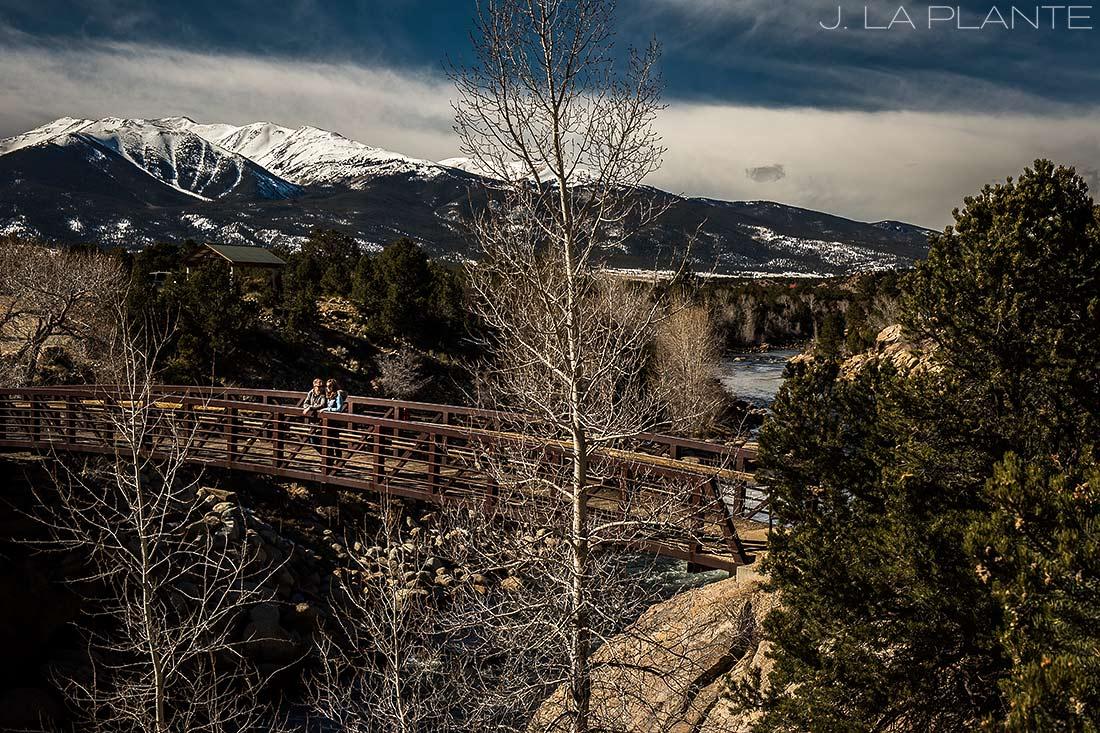 J. La Plante Photo   Colorado Wedding Photographer   Buena Vista Colorado Engagement   Bride and Groom on Bridge