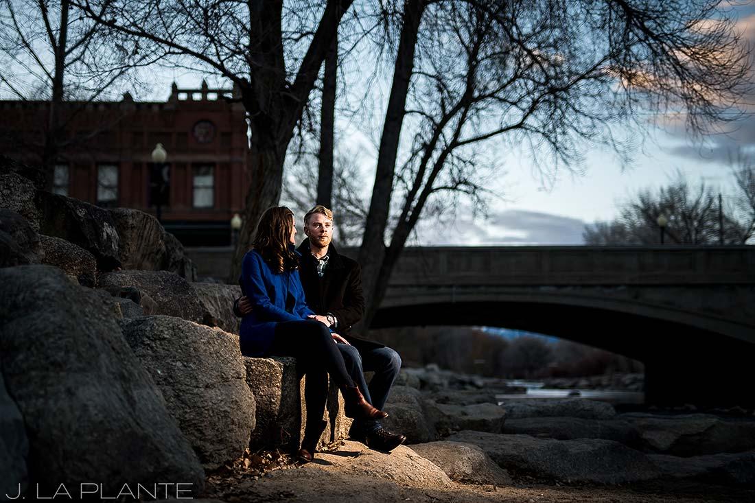J. La Plante Photo   Colorado Wedding Photographer   Salida Colorado Engagement   Bride and Groom by River
