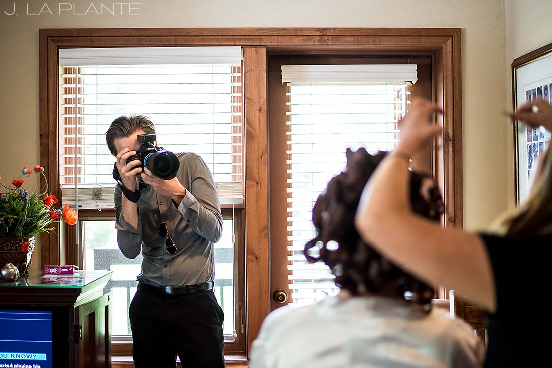 bride getting ready for vail wedding