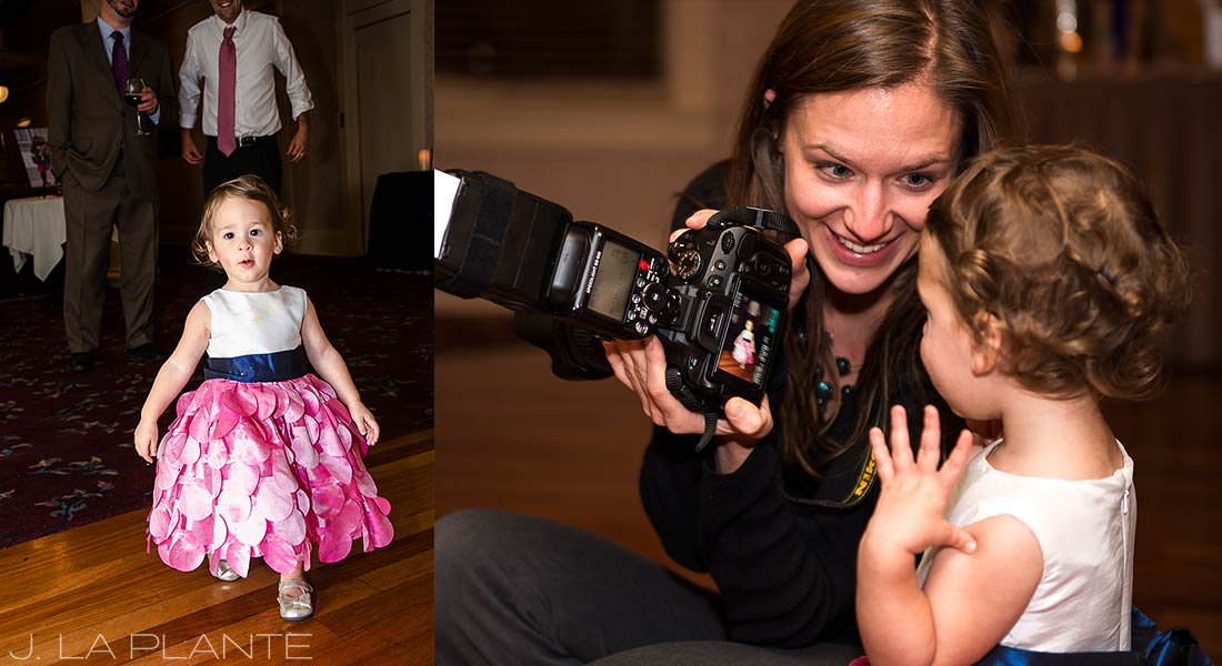 wedding photographer with flower girl