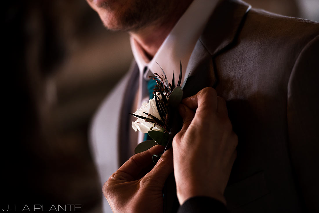 Winter boutonnierre | Chief Hosa Lodge wedding | J. La Plante Photo | Denver Wedding Photographers