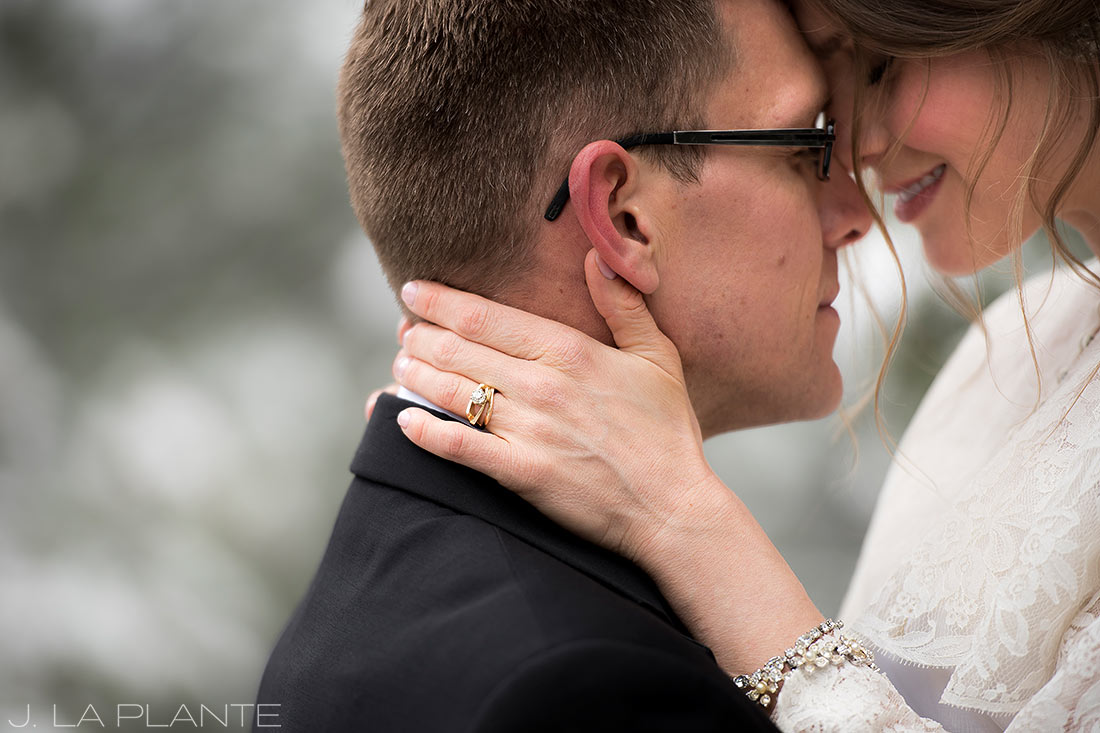 Quiet moment between bride and groom | Chief Hosa Lodge wedding | J. La Plante Photo | Denver Wedding Photographers