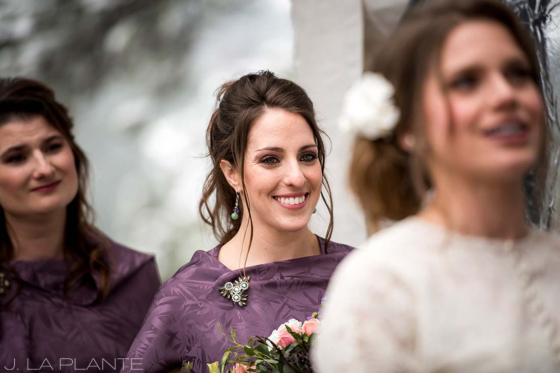 Maid of honor shawl and broach | Chief Hosa Lodge wedding | J. La Plante Photo | Denver Wedding Photographers