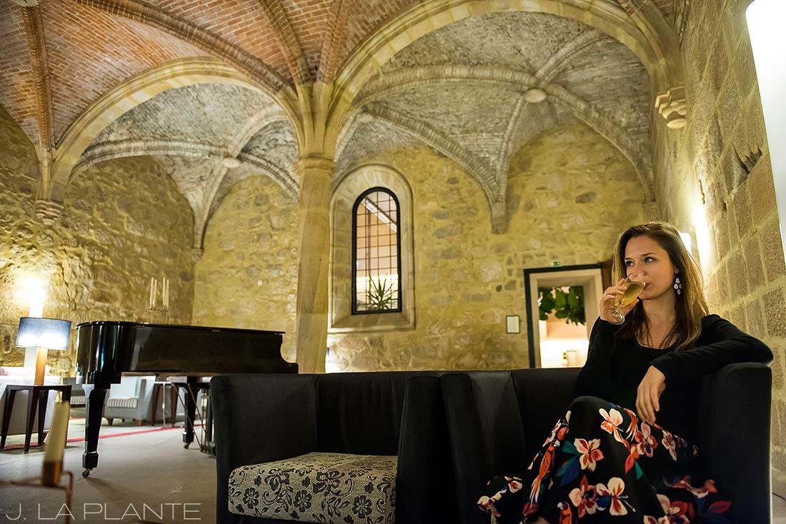 drinking wine at Flor da Rosa and the Pousada Mosteiro Crato